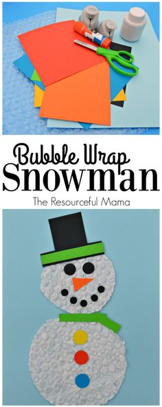 Kids will stay dry and warm making this bubble wrap snowman craft this winter. Winter Crafts For Kids, Winter Kids, Crafts For Teens, Preschool Winter, Kids Crafts, Adult Crafts, Snowman Crafts, Christmas Crafts For Kids, Christmas Fun