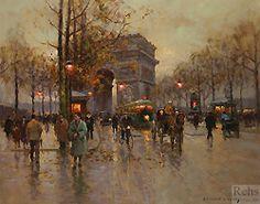 Arc de Triomphe, Avenue Friedland by Edouard Leon Cortes - 29 x 36 7/8 inches Signed paris street scene belle epoque epoche school of paris