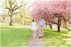 Gorgeous Pink Cherry Blossom Spring Engagement Session | Mellon Park Engagement photos | Pittsburgh | Kelly Adrienne Photography