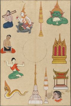 variety of individual sketches of temples & stupa & people & mythological figures Traditional Paintings, Traditional Art, Marriage Matching, Thai Design, Thai Pattern, Thailand Art, Chinese Astrology, Creative Poster Design, Thai Art