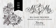 Klassieke trouwkaart wit hout www.fientje-en-co.nl