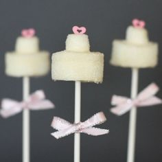 Wedding Cake Marshmallow Pops!  A fun and festive addition to any wedding or bridal shower!
