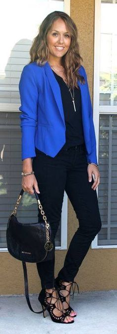 I like the electric blue blazer. I usually don't like angled cut blazers or cardigans but this looks good.