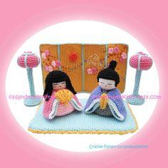 Hinamatsuri Japanese Doll's Festival Girl's Day Amigurumi PDF Crochet Pattern by HandmadeKitty. $9.98, via Etsy.