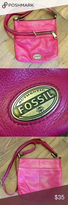 """Fossil Crossbody Fossil, genuine leather  About 6""""x6""""  Long adjustable strap Bright, bold pink Barely noticeable discoloration (blueish) on back, probably from rubbing against new jeans Fossil Bags Crossbody Bags"""