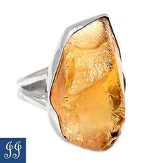 49399-STUNNING-NATURAL-CITRINE-ROUGH-925-STERLING-SILVER-RING-SIZE-10-JEWELRY