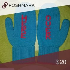 Brand new Kate SPADE Oversized Here Mittens Blue with red Over (left hand) Here (right hand) print. 100% wool. Comes with a gift box kate spade Accessories Gloves & Mittens