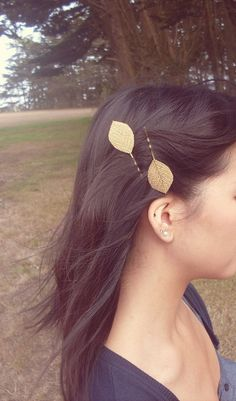 Fall Comes Softly Gold Leaf Bobby Pins Golden by dreamsbythesea, $30.00