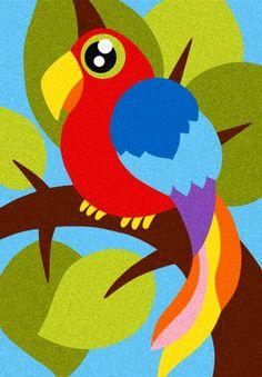 Album: Gli animali - Disegno: Il pappagallo