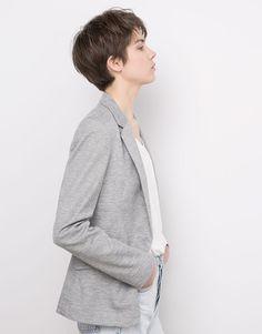 Pull&Bear - ženy - bundy a saka - piqué blazer - grey - 05781300-V2016