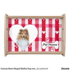 #Custom #Heart Shaped #Sheltie Dog #wood #Serving #Tray #valentine #gift
