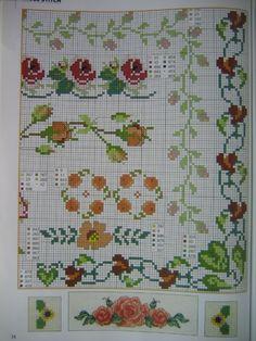 Ponto Cruz Flores -  /  Cross Stitch Flowers -