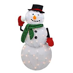 ProductWorks 32-Inch Pre-Lit Candy Cane Lane Snowman Christmas Yard Decoration