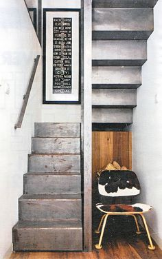 single sheet of rolled cold steel folded into a stairway - half up and half down
