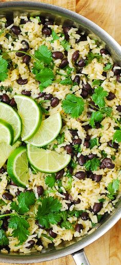 Cilantro-Lime Black Bean Rice - easy, light, delicious, and makes the perfect gluten free side dish. Side Dish Recipes, Rice Recipes, Mexican Food Recipes, Whole Food Recipes, Vegan Recipes, Cooking Recipes, Easy Dinner Meals Healthy, Vegetarian Recipes Black Beans, Easy Healthy Vegetarian Recipes