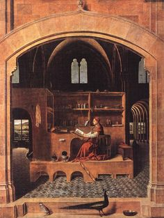 """St. Jerome in his Study Wood 1460 46 x 36.5 cm (18.11"""" x 14.37"""")"""