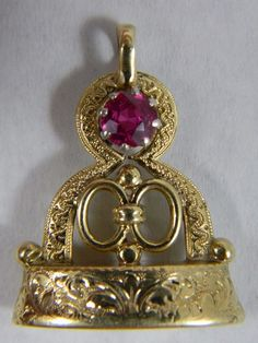 Antique Victorian 18k Gold Fill FOB Charm Wax Seal Stamp Synthetic Ruby HL H L #Beauty #Pendant Synthetic Ruby, Wax Seal Stamp, Wax Seals, 18k Gold, Fill, Perfume Bottles, Victorian, Charmed, Antiques