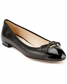 Prada Leather & Patent Cap-Toe Ballet Flat
