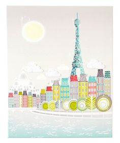 Transport yourself right out of the office with Laura Amiss's whimsical illustrations of famous skylines, from Paris to Amsterdam to New York. For this canvas print, you can choose to receive a plain version or one with textured appliqués that highlight different parts of the piece (like felt clouds).