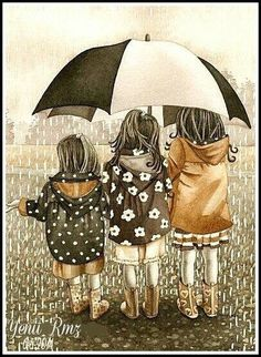 Three little girls under an umbrella on a rainy day ~ watercolor print by Tracy Lizotte Umbrella Art, Under My Umbrella, Watercolor Print, Watercolor Paintings, Painting Art, Singing In The Rain, Art And Illustration, Rainy Days, Art Photography