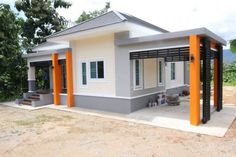 This house concept is simple in design yet the touch of elegance is still in it. With 3 bedrooms, this house is 143 square meters total floor area. Modern Bungalow House, Bungalow House Plans, Modern Houses, Bedroom Colour Palette, Bedroom Color Schemes, Floor Layout, Minimalist Apartment, Level Homes, Building A New Home