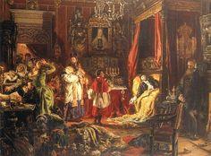 Death of Sigismund Augustus at Knyszyn.....Śmierć Zygmunta Augusta w Knyszynie, Jan Matejko,XIX w....Za panowania Zygmunta II Augusta miał miejsce rozkwit literatury i sztuki renesansowej. Od jego imienia pochodzi nazwa miasta Augustów.   Zygmunt II August zmarł w 1572 w Knyszynie, jako ostatni polski monarcha z linii męskiej dynastii jagiellońskiej. Kolejnym królem polskim, wybranym przez sejm elekcyjny, był Henryk Walezy (panował 1573-1574).