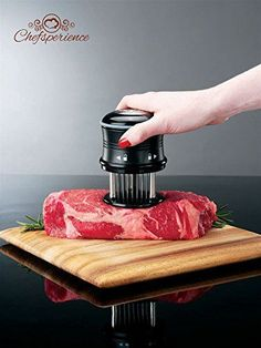 DURABLE QUALITY - This meat tenderizer consists of 56 ultra-sharp steel blades that easily glide into beef, chicken, lamb and other kinds of meat. Great Thanksgiving gift. SAFETY - It comes with a safety lock for when not in use, a plastic see-through cover, and a nice box. When not in use, the blades can be locked by twisting the top ring anti-clockwise SAVES COOKING TIME - The meat tenderizer makes meat porous and softer thus significantly reducing the cooking time, especially with tough…