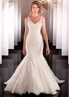 Trumpet V-neck Neckline Wedding Dress