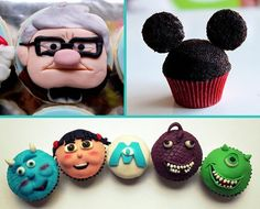 I need these Disney cupcakes Beautiful Cupcakes, Love Cupcakes, Yummy Cupcakes, Birthday Cupcakes, Cupcake Cookies, Fun Deserts, Cute Desserts, Disney Cupcakes, Cupcake Queen