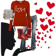 not sure about the red uggs but I'd sure wear with silver ugg boots outfits Ugg Boots Outfit, Valentine's Day Outfit, Only Fashion, Love Fashion, Womens Fashion, Winter Outfits, Casual Outfits, Cute Outfits, Ugg Winter Boots