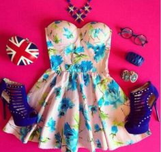 Blue floral Dress with cute Accessories. Also from Sassitude