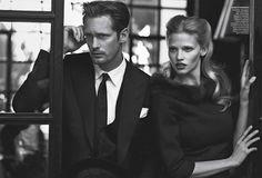 Peter Lindbergh and fashion editor Grace Coddington. Featuring model Lara Stone and actor Alexander Skarsgård for Vogue US July11.