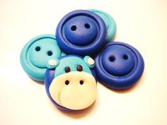 blue hippo buttons handmade with polymer clay by JustFingerPrint