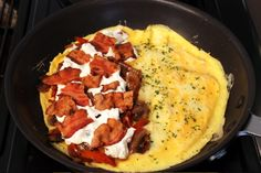 Bacon, Pepper, Ricotta, Avocado Omelette