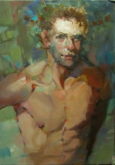 """""""On The Blue Side"""" Contemporary Figures/Portraits/Nudes 5x7 oil by Kim Roberti., painting by artist Kim Roberti"""