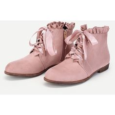 SheIn(sheinside) Lace Up Lettuce Trim Flat Boots ($39) ❤ liked on Polyvore featuring shoes, boots, round toe boots, pink flat shoes, laced boots, round toe lace up boots and flat lace-up shoes