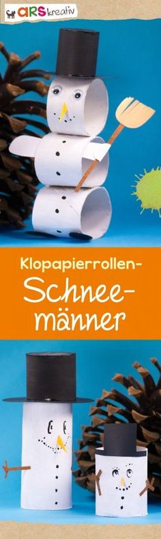 winter snowmen made of toilet paper rolls - DIY Crafts for Kids Toilet Paper Roll Crafts, Craft Stick Crafts, Diy Crafts For Kids, Art For Kids, Arts And Crafts, Diy Paper, Diy Y Manualidades, Puppet Crafts, Christmas Activities