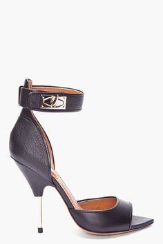GIVENCHY //  BLACK LEATHER SHARK-LOCK HEELS