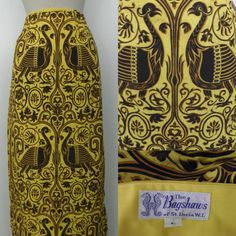 Vintage 60s Incredible Mustard Black Screen Printed Peacock Wrap Skirt by Bagshaws of St Lucia by GGMMVintage, etsy
