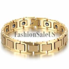 Stylish and healthy atmosphere high-end gold tungsten steel men's bracelet Color: tungsten steel Clasp :push-button Material: tungsten steel + magnet Product category: tungsten bracelets specification: Length * width: * Weight (kg): / / weight (oz): Gents Bracelet, Mens Diamond Bracelet, Mens Gold Bracelets, Link Bracelets, Handmade Bracelets, Handmade Jewelry, Health Bracelet, Silver Rings Online, Silver Engagement Rings