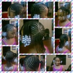 #JustaTaste of the #MagicFingers Braided 2 ponytails with designs on a 9 Year Old. #ProtectiveStyle