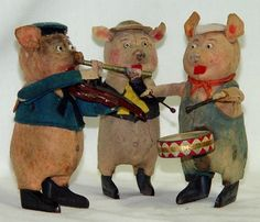 Schuco Three Pigs Band Wind Up Toy From 30s ebay
