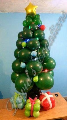 Como hacer un Arbol Navideño con globos - How to make a Balloon Christmas Tree