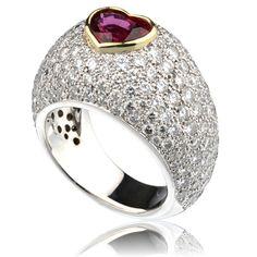 Ruby and pavé diamond ring