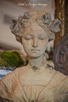 Antique FRENCH Art Nouveau Bust Josephine Terracotta Stone