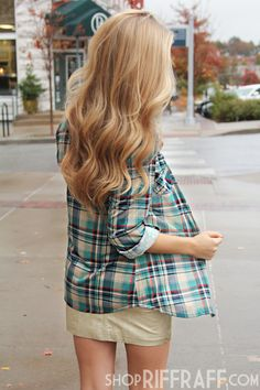 CANDY COLORED PLAID BUTTON-UP - BLUE