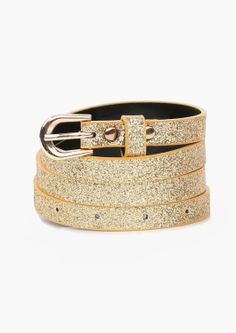 A rad sparkly belt! This belt has gold sparkles throughout outside with gold hardware. Has multiple holes for length adjustment.