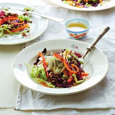 Colourful slaw with honey vinaigrette and toasted pecans