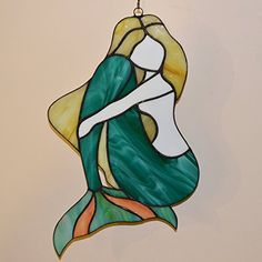 Mermaid Large Stained Glass Panel for Home Decor