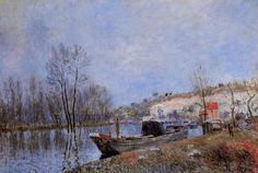 Banks of the Loing towards Moret Artist: Alfred Sisley Completion Date: 1883 Style: Impressionism Genre: landscape Technique: oil Material: canvas Dimensions: 50 x 73 cm Tags: rivers-and-waterfalls, boats-and-ships, forests-and-trees